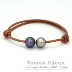 Leather Bracelet and 2 Tahitian Pearls Round C 10.1 mm