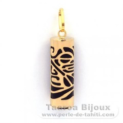 18K Gold Pendant and Black Agate - 21 mm - Piroguier