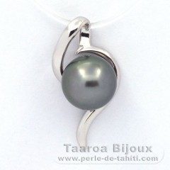 Rhodiated Sterling Silver Pendant and 1 Tahitian Pearl Round C 9.4 mm