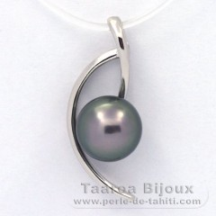 Rhodiated Sterling Silver Pendant and 1 Tahitian Pearl Semi-Baroque C 8.9 mm