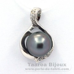 Rhodiated Sterling Silver Pendant and 1 Tahitian Pearl Near-Round C 9.9 mm