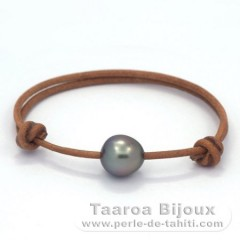 Leather Bracelet and 1 Tahitian Pearl Semi-Baroque C 11.2 mm