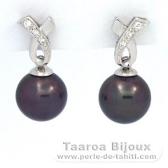 Rhodiated Sterling Silver Earrings and 2 Tahitian Pearls Round 1 B & 1 C 8.5 mm