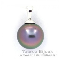 18K Solid White Gold Pendant and 1 Tahitian Pearl Round B 9.9 mm