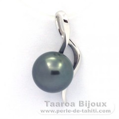 18K Solid White Gold Pendant and 1 Tahitian Pearl Round B 8.8 mm