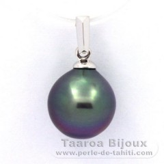 18K Solid White Gold Pendant and 1 Tahitian Pearl Semi-Baroque B 9.9 mm