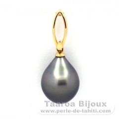 18K solid Gold Pendant and 1 Tahitian Pearl Semi-Baroque A 11.7 mm