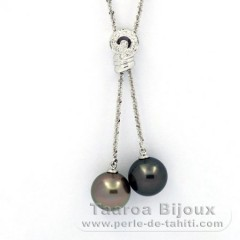 Rhodiated Sterling Silver Necklace and 2 Tahitian Pearls Round B/C 12 and 12.2 mm