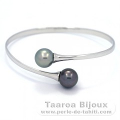 Rhodiated Sterling Silver Bracelet and 2 Tahitian Pearls Round C 11 and 11.1 mm