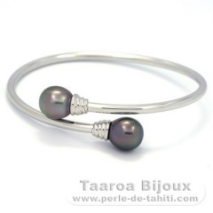 Rhodiated Sterling Silver Bracelet and 2 Tahitian Pearls Semi-Baroque B 10.3 mm