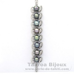 Rhodiated Sterling Silver Bracelet and 8 Tahitian Pearls Semi-Baroque B  8.6 to 8.8 mm