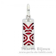 Silver and Pink Agate Tiki - 15 mm - Luck