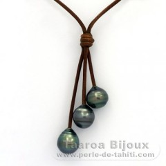 Leather Necklace and 3 Tahitian Pearls Ringed C  10 to 10.2 mm