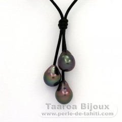 Leather Necklace and 3 Tahitian Pearls Semi-Baroque B  9.7 to 9.9 mm