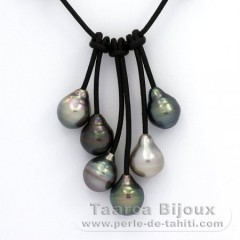 Leather Necklace and 6 Tahitian Pearls Ringed B  10 to 10.3 mm