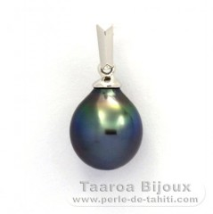18K Solid White Gold Pendant and 1 Tahitian Pearl Semi-Baroque A 8.8 mm