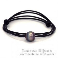 Leather Necklace and 1 Tahitian Pearl Ringed C 13.5 mm