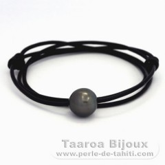 Leather Necklace and 1 Tahitian Pearl Semi-Baroque C 13.4 mm