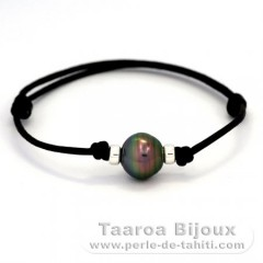 Waxed Cotton Bracelet and 1 Tahitian Pearl Ringed B+ 11.4 mm