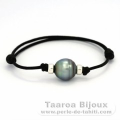 Waxed Cotton Bracelet and 1 Tahitian Pearl Ringed C 12.5 mm