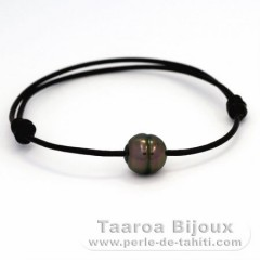 Leather Bracelet and 1 Tahitian Pearl Ringed C 10.4 mm