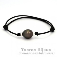 Waxed Cotton Bracelet and 1 Tahitian Pearl Semi-Baroque C 11.9 mm