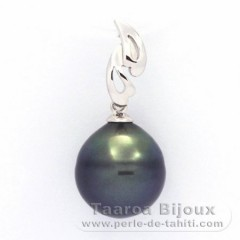 Rhodiated Sterling Silver Pendant and 1 Tahitian Pearl Ringed C 11.6 mm
