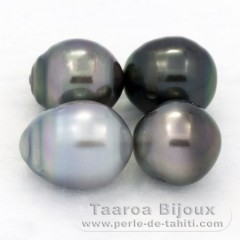 Lot of 4 Tahitian Pearls Semi-Baroque D from 9.6 to 9.8 mm