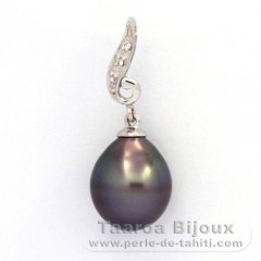 Rhodiated Sterling Silver Pendant and 1 Tahitian Pearl Semi-Baroque C 9.7 mm