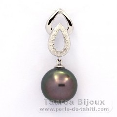 Rhodiated Sterling Silver Pendant and 1 Tahitian Pearl Round C 11.6 mm