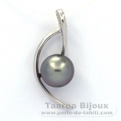Rhodiated Sterling Silver Pendant and 1 Tahitian Pearl Round C 8.3 mm
