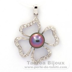 Rhodiated Sterling Silver Pendant and 1 Tahitian Pearl Semi-Baroque C+ 8.6 mm