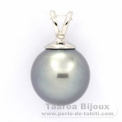 Rhodiated Sterling Silver Pendant and 1 Tahitian Pearl Near-Round C 9.7 mm