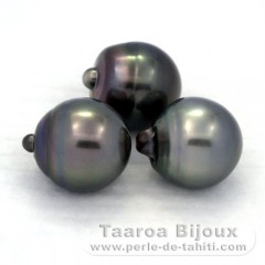 Lot of 3 Tahitian Pearls Semi-Baroque C from 12.5 to 12.8 mm