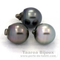 Lot of 3 Tahitian Pearls Semi-Baroque C 12.2 mm