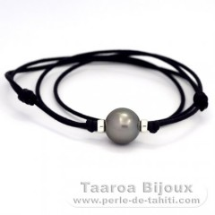 Waxed Cotton Necklace and 1 Tahitian Pearl Round C 13.4 mm