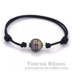 Waxed Cotton Bracelet and 1 Tahitian Pearl Ringed C 10.6 mm