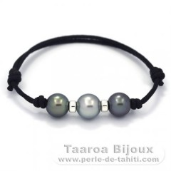 Waxed Cotton Bracelet and 3 Tahitian Pearls Round C  9.5 to 10 mm
