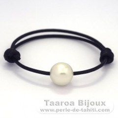 Leather Bracelet and 1 Australian Pearl Semi-Baroque C 12.6 mm