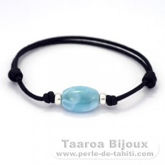 Cotton Bracelet and 1 Larimar - 15 x 11 x 6.8 mm - 2.1 gr