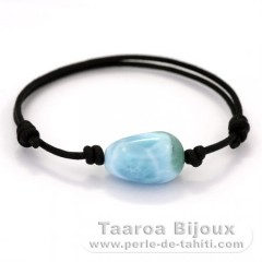 Cotton Bracelet and 1 Larimar - 19 x 12 x 11 mm - 4.1 gr