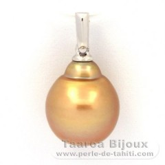 Rhodiated Sterling Silver Pendant and 1 Australian Pearl Baroque C 11.2 mm