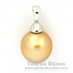 Rhodiated Sterling Silver Pendant and 1 Australian Pearl Semi-Baroque C 10.1 mm