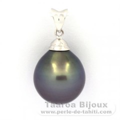 Rhodiated Sterling Silver Pendant and 1 Tahitian Pearl Semi-Baroque C 13.1 mm