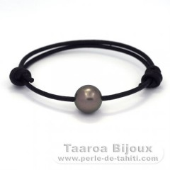 Leather Bracelet and 1 Tahitian Pearl Round C 11.8 mm
