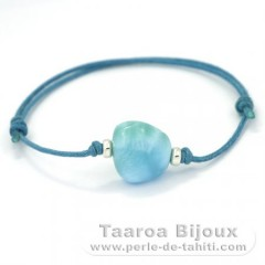 Cotton Bracelet and 1 Larimar - 13 x 14 x 7.6 mm - 2.38 gr