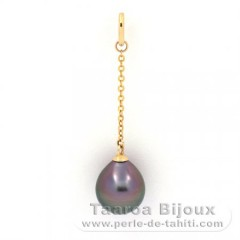 18K solid Gold Pendant and 1 Tahitian Pearl Semi-Baroque A 8.6 mm