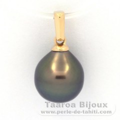 18K solid Gold Pendant and 1 Tahitian Pearl Semi-Baroque A 9.3 mm