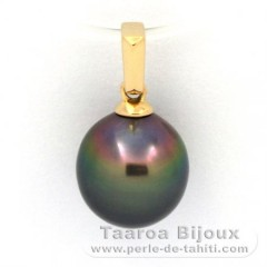 18K solid Gold Pendant and 1 Tahitian Pearl Semi-Baroque B 9.3 mm