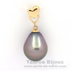 18K solid Gold Pendant and 1 Tahitian Pearl Semi-Baroque B 10.7 mm